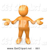 3d Clip Art of an Uncertain Orange Person Gesturing in Uncertainty and Asking What They Should Do to Solve a Problem by 3poD