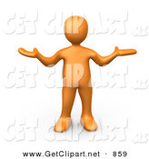3d Clip Art of an Uncertain Orange Person Shrugging over White by 3poD
