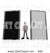 3d Clip Art of an Unsure Businessman Standing Between a Black and a Grey Door, Trying to Decide Which Career Path to Take by 3poD