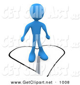 3d Clip Art of an Unsuspecting Blue Person About to Fall in Love As a Saw Cuts a Heart Shape out of the Floor Underneath Him by 3poD