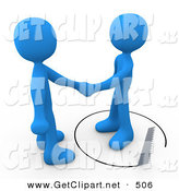 3d Clip Art of an Unsuspecting Blue Person Shaking Hands on a Deal with Another Man As a Saw Cuts a Circle out from Under Him by 3poD