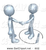 3d Clip Art of an Unsuspecting Chrome Man Shaking Hands on a Deal with Another Man As a Saw Cuts a Circle out from Under Him by 3poD