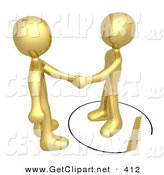 3d Clip Art of an Unsuspecting Golden Person Shaking Hands on a Deal with Another Man As a Saw Cuts a Circle out from Under Him by 3poD