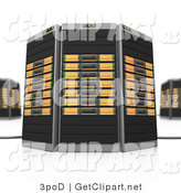 3d Clip Art of Black and Orange Towers of Server Racks by 3poD