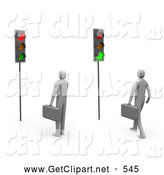 3d Clip Art of Businessmen Waiting at Traffic Lights by 3poD
