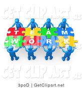 3d Clip Art of Eight Blue 3d People Working Together to Hold Colorful Pieces of a Jigsaw Puzzle That Spells out Team Work by 3poD