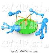 3d Clip Art of Four Blue Kids Hanging onto the Bars of a Playground Merry Go Round As They Spin in Circles by 3poD