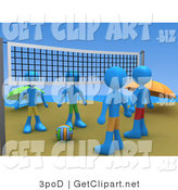 3d Clip Art of Four Blue People Facing Eachother While Standing on Two Sides of a Beach Volleyball Net with the Ball Between Them by 3poD