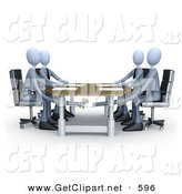 3d Clip Art of Four Businessman Paying or Bribing Another Under the Table During a Business Meeting by 3poD
