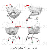 3d Clip Art of Four Metal Store Shopping Carts in Different Postures by 3poD