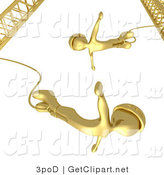 3d Clip Art of Gold Bungee Jumpers in Helmets, Falling While Bungee Jumping from a Crane by 3poD