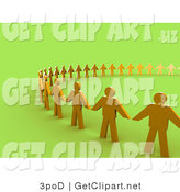3d Clip Art of Golden People Standing Side by Side and Holding Hands While Forming a Large Circle on Green, Symbolizing Teamwork, Support, or Taking a Stand by 3poD