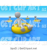 3d Clip Art of Grey People Relaxing and Floating on Yellow Inner Tubes in the Blue Ocean on Summer Vacation by 3poD