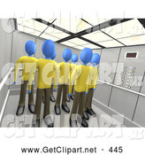 3d Clip Art of Identical Blue People in the Same Uniforms, Standing in an Elevator, Symbolizing Teamwork or Clones or Brainwashing by 3poD