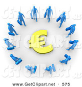 3d Clip Art of Many Blue Businessmen Carrying Briefcases Standing in a Circle Around a Euro Sign by 3poD