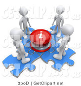 3d Clip Art of People Around an Info Button and Puzzle Pieces by 3poD