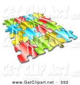 3d Clip Art of Pieces of a Colorful Jigsaw Puzzle Connected over a White Background, Symbolizing Interlinking for Seo Website Marketing, Teamwork and Diversity by 3poD