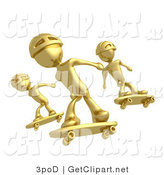 3d Clip Art of Three Golden Skateboarders in Helmets Catching Air All at the Same Time by 3poD