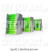 3d Clip Art of Three Green and Silver Towers of Server Racks by 3poD