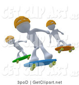 3d Clip Art of Three White Skateboarder Men in Yellow Helmets Catching Air All at the Same Time by 3poD