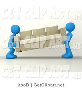 3d Clip Art of Two Blue Male Figures About to Place a Tan Couch While Moving into a New House by 3poD