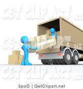 3d Clip Art of Two Blue Male Figures Lifting and Loading or Unloading a Beige Living Room Couch and Boxes from a Brown Moving Truck by 3poD