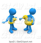 3d Clip Art of Two Blue Men Faching Eachother and Wearing Yellow Inner Tubes with Faces Around Their Waists at the Beach on Summer Vacation by 3poD