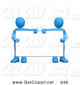 3d Clip Art of Two Blue Men Standing Behind and Holding up a Blank White Advertising Sign Between Them by 3poD
