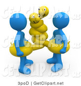 3d Clip Art of Two Blue Men Wearing Hugging Yellow Inner Tubes with Faces Around Their Waists at the Beach on Summer Vacation by 3poD
