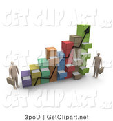 3d Clip Art of Two Businessmen Standing by a Chart Made of Filing Cabinets with Random Open Drawers Representing a Profit Graph by 3poD