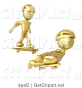 3d Clip Art of Two Golden Figures Skateboarding and Wearing Helmets by 3poD
