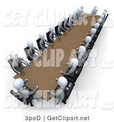 3d Clip Art of Two Rows of Grey People Holding a Meeting Around a Large Rectangular Conference Table in an Office by 3poD