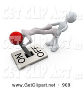 3d Clip Art of Two White People Trying to Turn a Lever Switch Handle to the off Position by 3poD