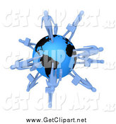 Clip Art of 3d Blue Business People Walking on the Earth by 3poD
