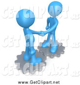 Clip Art of 3d Blue Men Shaking Hands on Gears by 3poD