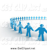 Clip Art of 3d Blue Paper People Holding Hands in a Unity Circle by 3poD