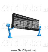 Clip Art of 3d Blue People Carrying a Large Computer Keyboard by 3poD