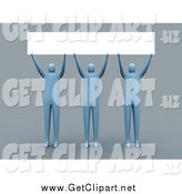 Clip Art of 3d Blue People Holding a Blank Sign over Their Heads by 3poD
