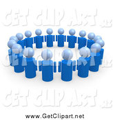 Clip Art of 3d Blue People in a Circle of Support by 3poD
