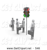 Clip Art of 3d Businessmen Waiting at Red Stop Lights by 3poD