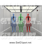 Clip Art of 3d Colorful Corporate Businessmen Standing with Briefcases in an Elevator by 3poD
