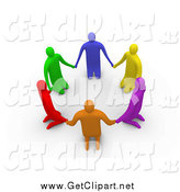Clip Art of 3d Colorful Kneeling People in a Circle by 3poD