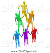 Clip Art of 3d Colorful Men Making a Pyramid by 3poD