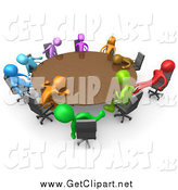 Clip Art of 3d Colorful People Passing out Around a Meeting Table by 3poD