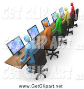 Clip Art of 3d Colorful Users Working in a Computer Lab by 3poD