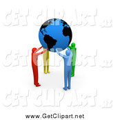 Clip Art of 3d Diverse People Coming Together and Supporting the Planet Earth by 3poD