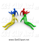 Clip Art of 3d Diverse People Seated on the Floor with Backs Facing a Circle by 3poD
