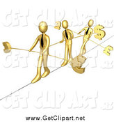 Clip Art of 3d Gold Business Men Walking Across a Tightrope with Bars and Euro, Pounds and Dollars at the Ends by 3poD