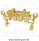 Clip Art of 3d Gold Guys Holding Together Puzzle Pieces to Find a Solution by 3poD