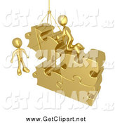 Clip Art of 3d Gold Men Hoisting Puzzle Piece into a Space by 3poD